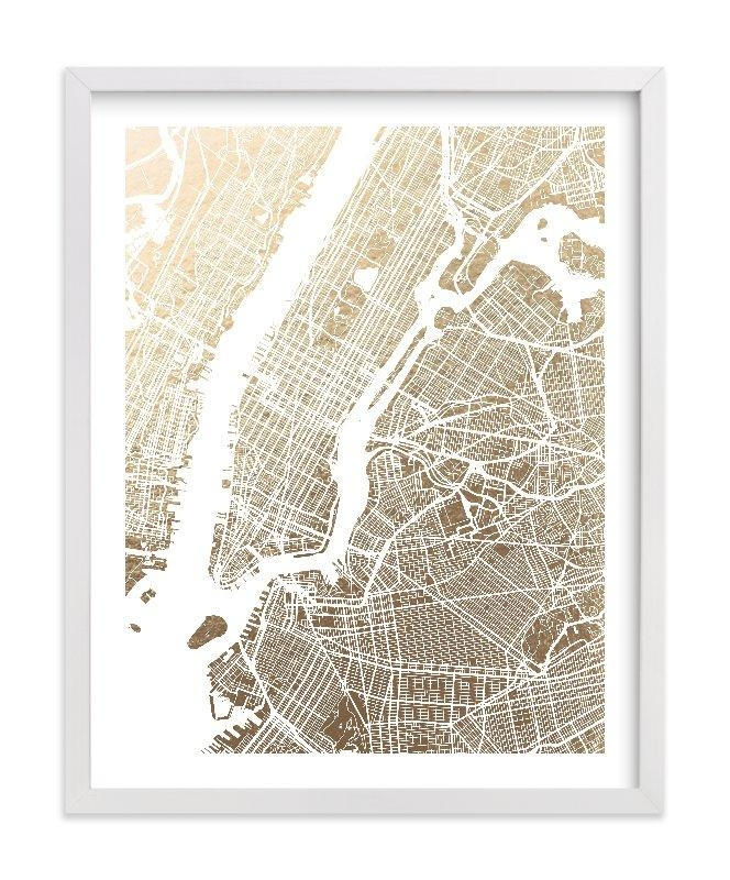 New York City Map Foil Pressed Wall Artalex Elko Design | Minted Throughout City Prints Map Wall Art (View 9 of 20)