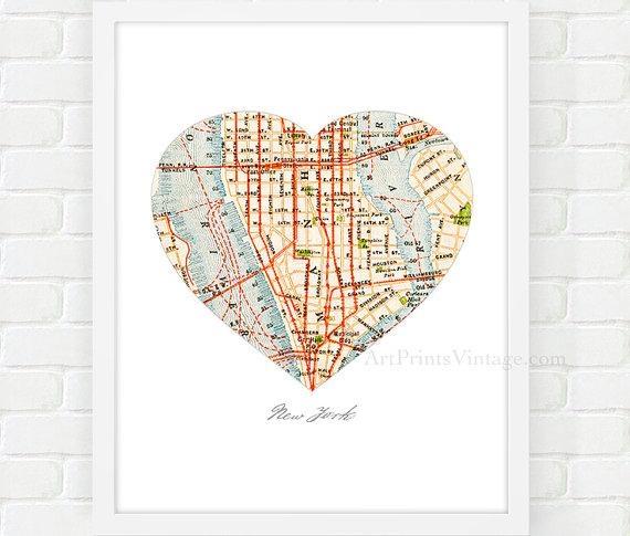 New York City Map Map Heart Print Manhattan Map Nyc Wall For Manhattan Map Wall Art (Image 12 of 20)