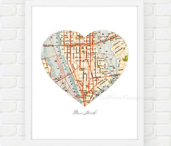New York City Map Map Heart Print Manhattan Map Nyc Wall With Regard To New York City Map Wall Art (View 7 of 20)