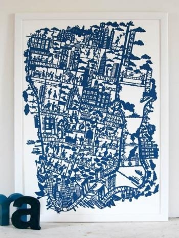 New York City Map (Night Blue) Throughout City Map Wall Art (Image 13 of 20)