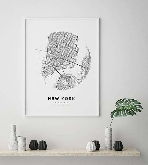 New York City Map Ny Map Art Modern Minimalist Nyc Map Within New York City Map Wall Art (View 19 of 20)