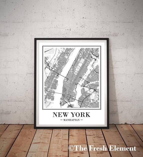 New York City Map Print New York Map Print Printable Map Ny with regard to Manhattan Map Wall Art