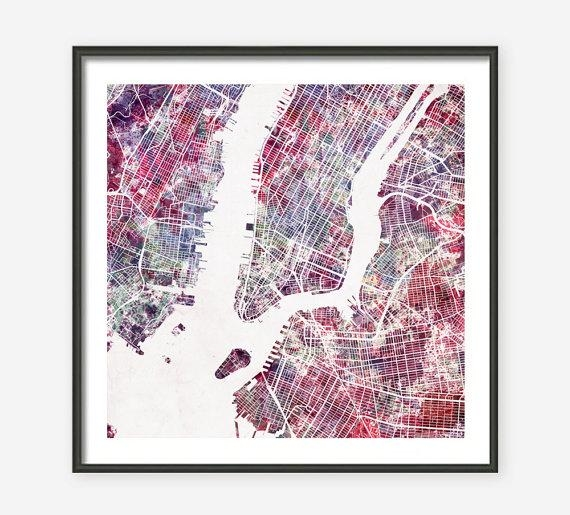 New York City Map Watercolor Painting Giclee Fine Art Throughout New York City Map Wall Art (View 2 of 20)