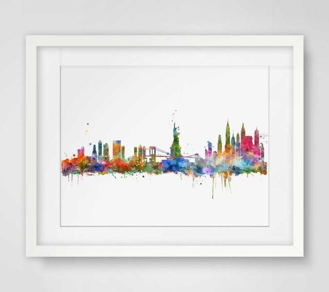 New York City Skyline Watercolor Poster Ny City Map Skyline Art Throughout New York Map Wall Art (View 8 of 20)