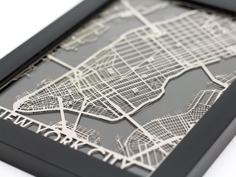 New York City Stainless Steel Laser Cut Map 5X7 Framed Intended For City Map Wall Art (Image 16 of 20)