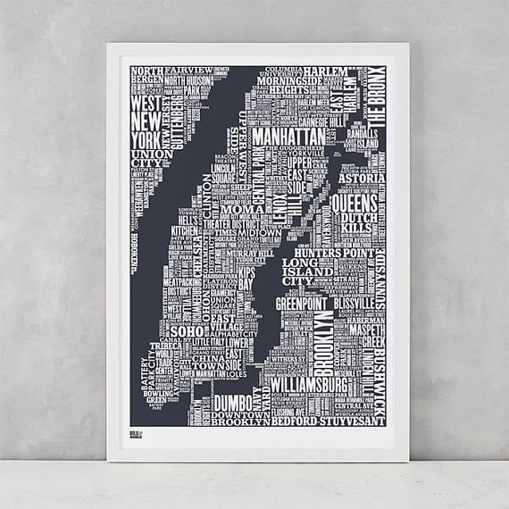 New York City Type Map Screen Print New York City Type Map Regarding New York Map Wall Art (View 12 of 20)