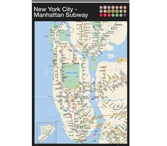 New York Manhattan Subway Map Poster For New York Subway Map Wall Art (View 2 of 20)