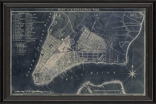 New York Map 1789 Blue Framed Wall Artspicher And Company Regarding New York Map Wall Art (View 19 of 20)