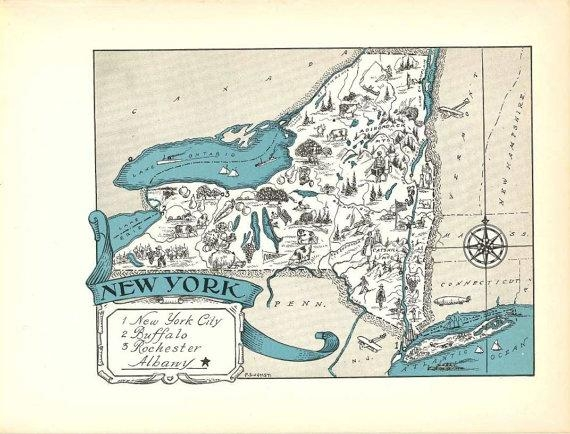 New York Map Art / Ny State Wall Decor / 1930S Vintage Map Pertaining To New York Map Wall Art (View 10 of 20)