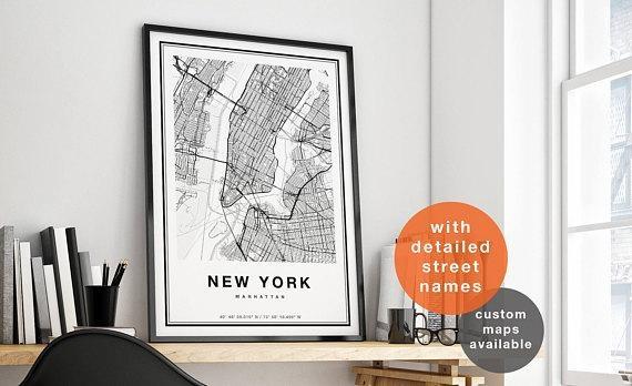 New York Map New York City Map Print Manhattan Map Print For Manhattan Map Wall Art (View 13 of 20)