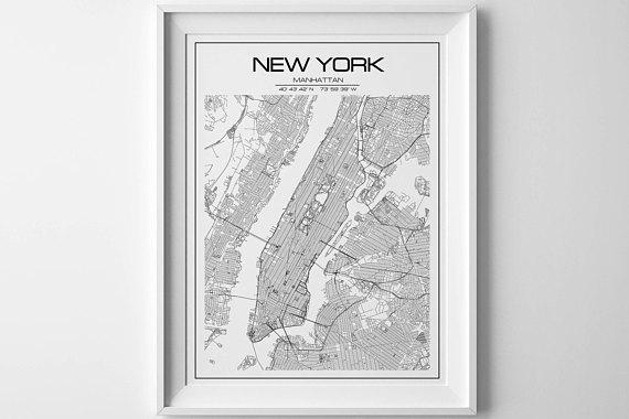 New York Map Print Manhattan Print Extra Large Wall Art New In Manhattan Map Wall Art (View 5 of 20)
