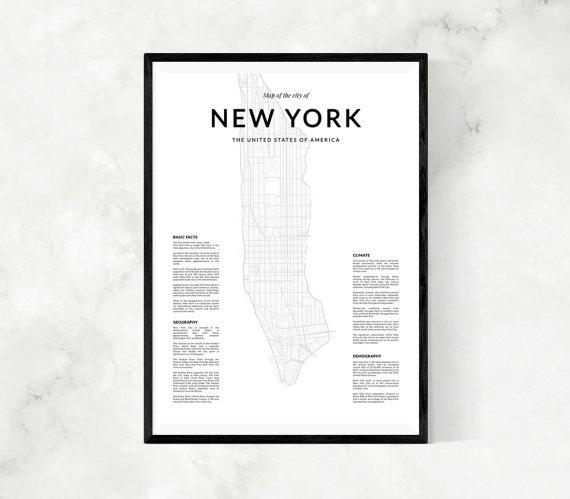 New York Map Print Map Wall Art New York Map Wall Art New Inside Nyc Map Wall Art (View 4 of 20)