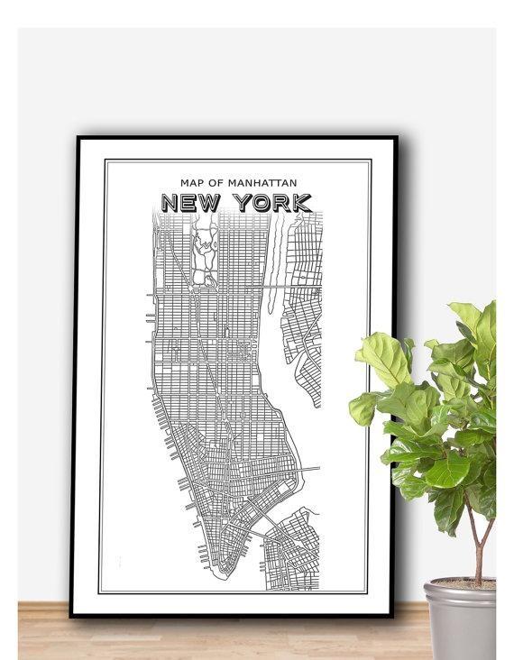 New York Map Printable File New York Print Manhattan Print For Nyc Map Wall Art (Image 17 of 20)