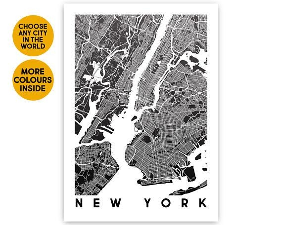 New York Map Wall Art Print Map Poster Travel Gift New York Throughout New York City Map Wall Art (View 16 of 20)