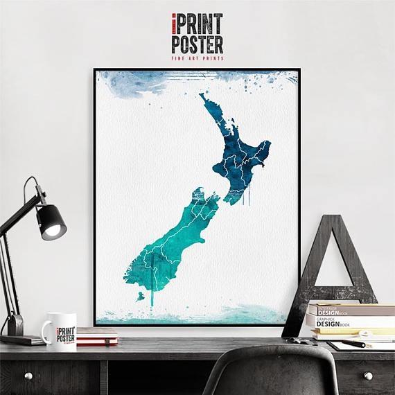 New Zealand Wall Art Print New Zealand Map Poster Travel In New Zealand Map Wall Art (Image 11 of 20)
