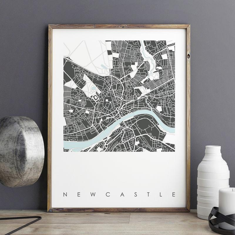 Newcastle Map Art Prints – Limited Edition Prints – Bronagh Pertaining To City Map Wall Art (Image 17 of 20)