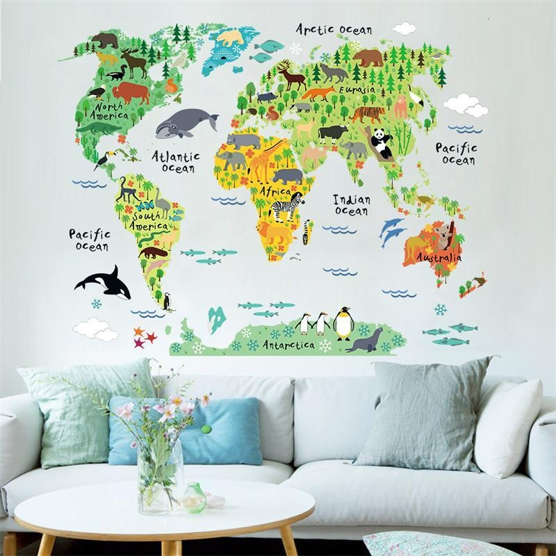 Newest Cartoon Animals World Map Home Decal Wall Sticker For Kids In World Map Wall Art For Kids (Image 12 of 20)