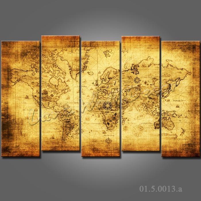 No Frame Canvas Only Canvas Painting Old World Map Wall Sticker Throughout Framed Map Wall Art (View 18 of 20)