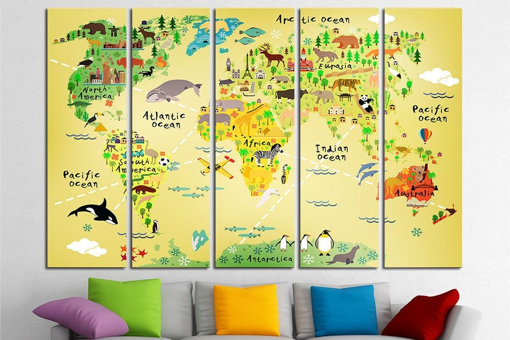 Nursery World Map Nursery Map Map For Kids World Map For Kids Throughout World Map Wall Art For Kids (View 3 of 20)