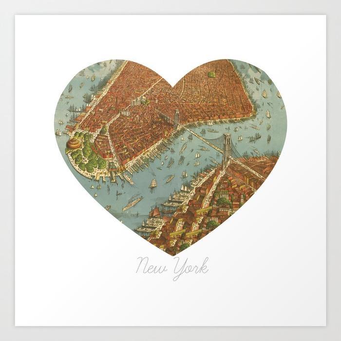 Nyc Heart Map, New York Brooklyn Bridge, Vintage Map Wall Art For Brooklyn Map Wall Art (Image 9 of 20)