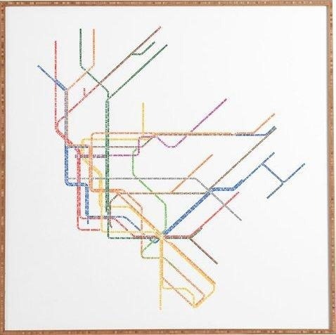 Nyc Subway Map' Framed Wall Art & Reviews | Allmodern Inside Subway Map Wall Art (Image 5 of 20)