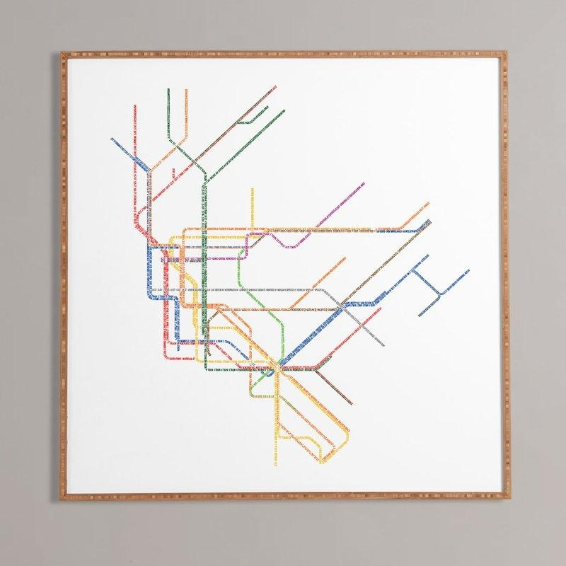 Nyc Subway Map' Framed Wall Art & Reviews | Allmodern With Regard To Subway Map Wall Art (Image 6 of 20)