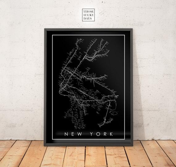 Nyc Subway Map Original Artwork Poster Art Wall Art With Regard To Nyc Subway Map Wall Art (View 8 of 20)