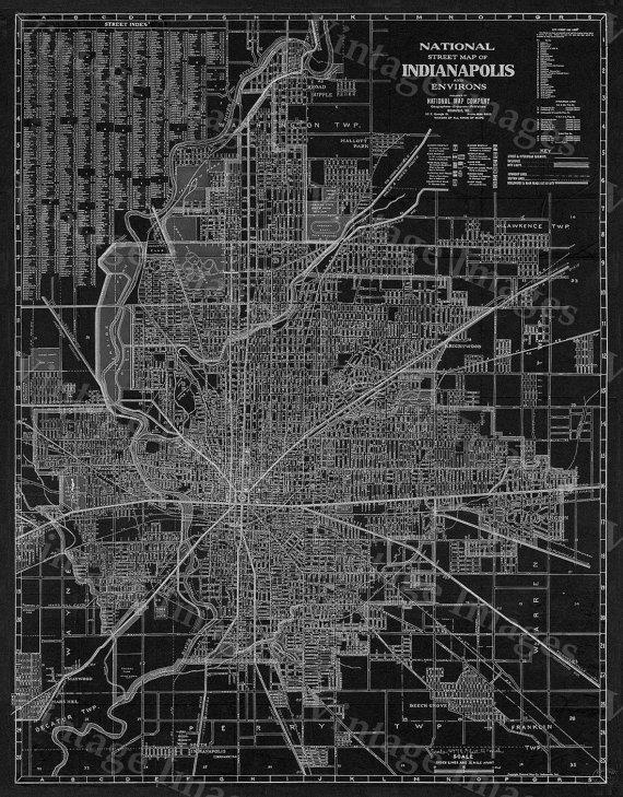 Old Indianapolis Map 1921 Antique Restoration Hardware Style Throughout Street Map Wall Art (Image 17 of 20)