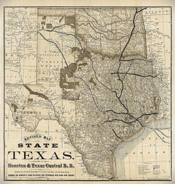 Old Map Of Texas 1876 Vintage Historical Wall Map Antique With Houston Map Wall Art (Image 18 of 20)