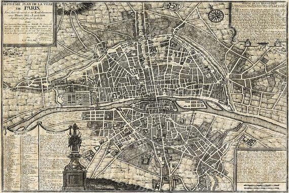 Old Paris Map Restoration Hardware Style Map Of Paris Historic Regarding Paris Map Wall Art (Image 10 of 20)