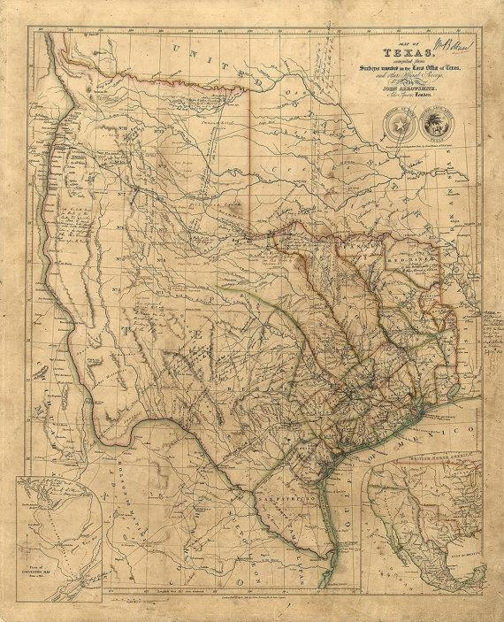 Old Texas Wall Map 1841 Historical Texas Map Antique Throughout Texas Map Wall Art (Image 10 of 20)