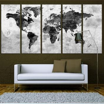 Old World Map Canvas Art Prints, Vintage From Artcanvasshop On Throughout Map Wall Art Prints (Image 10 of 20)