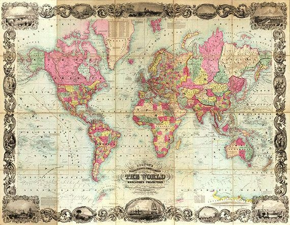 Old World Map Wall Art – Hydroloop In Old Map Wall Art (Image 8 of 20)