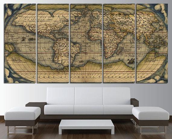 Old World Map Wall Art Multi Panel Set Vintage Large World Map Inside Large Map Wall Art (Image 11 of 20)