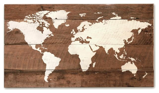 "Old World Wall Map, 37""x20"" – Rustic – Mixed Media Art – Within Wood Map Wall Art (View 12 of 20)"