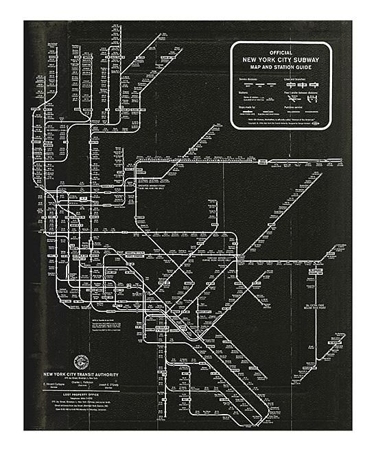 Oliver Gal New York Subway Map 1958 Wall Art Print | Zulily Pertaining To New York Subway Map Wall Art (Image 15 of 20)