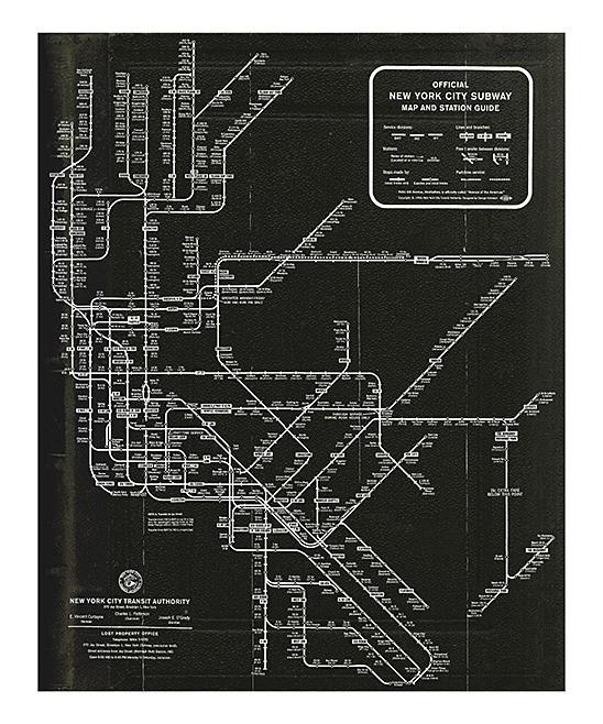 Oliver Gal New York Subway Map 1958 Wall Art Print | Zulily Within Nyc Subway Map Wall Art (Image 14 of 20)