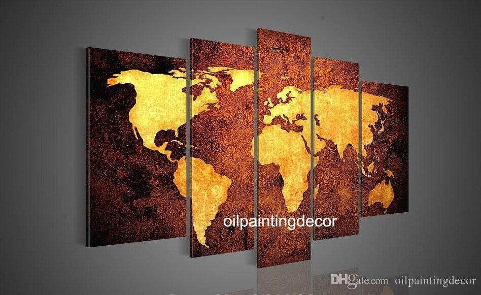 Online Cheap Hand Painted Canvas World Map Wall Art Large Oil Regarding Canvas Map Wall Art (View 8 of 20)