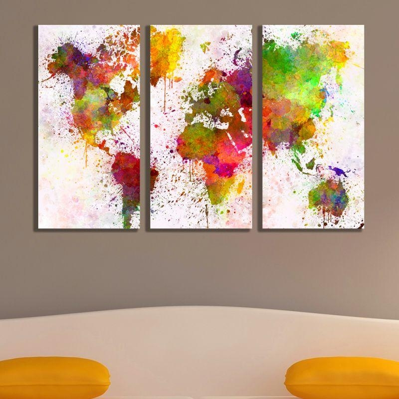 Online Wall Art Decoration Set Of 3 Parts Abstract World Map Pertaining To Abstract World Map Wall Art (Image 11 of 20)