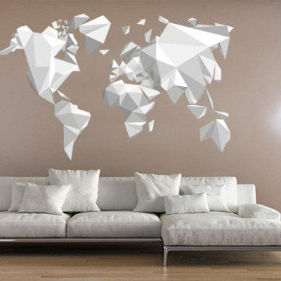 Origami World Map Wall Sticker Decal · Moonwallstickers Within World Map Wall Art Stickers (Image 7 of 20)