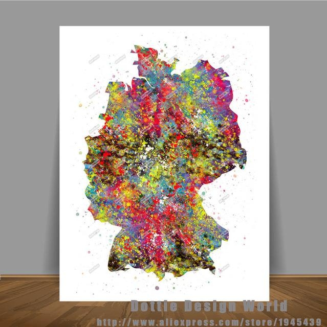 Original Watercolor Germany Map Canvas Painting World Map Wall Art Throughout World Map Wall Art Print (Image 12 of 20)