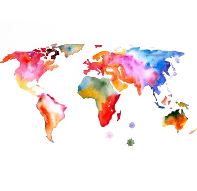 Original Watercolor Painting World Map 13X19 Abstract Modern Cool Inside Abstract World Map Wall Art (View 11 of 20)
