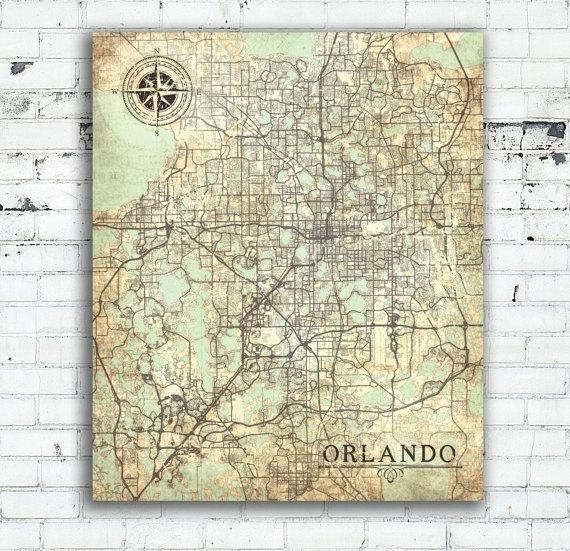 Orlando Fl Canvas Print Orlando Fl City Florida Vintage Map Throughout Florida Map Wall Art (Image 14 of 20)