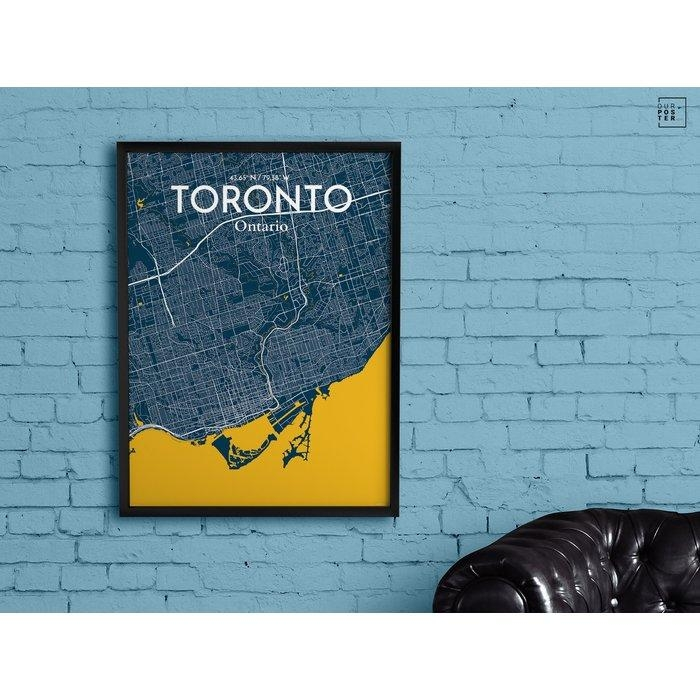 Ourposter 'toronto City Map' Graphic Art Print Poster In Amuse Pertaining To Map Wall Art Toronto (View 3 of 20)
