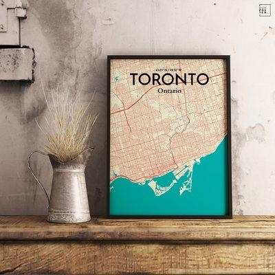 Ourposter 'toronto City Map' Graphic Art Print Poster In Amuse Throughout Map Wall Art Toronto (Image 9 of 20)