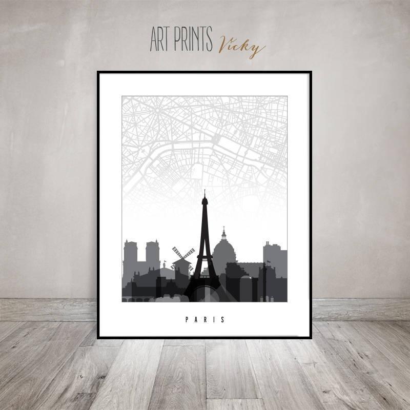 Paris Map Poster, Paris Skyline Print, Travel Gift, City Prints Regarding City Prints Map Wall Art (View 8 of 20)