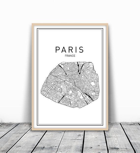 Paris Map Print City Map Wall Art Paris Map Art France In City Map Wall Art (Image 18 of 20)