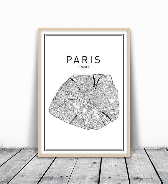 Paris Map Print City Map Wall Art Paris Map Art France Intended For Paris Map Wall Art (View 1 of 20)