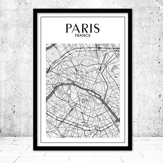 Paris Map Print Paris Print Paris Map Paris Wall Art Map Within Paris Map Wall Art (Image 13 of 20)