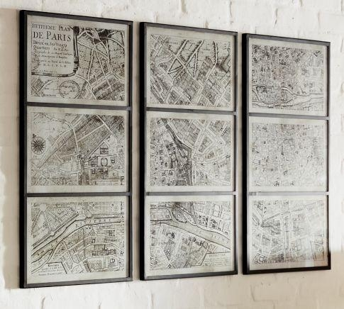 Paris Map Print Triptych – Pottery Barn With Regard To Framed Map Wall Art (View 4 of 20)